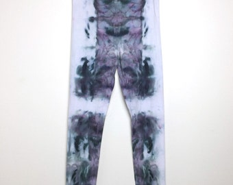 Psychedelic Ice-Dyed Leggings - Size Large - L - Watercolor Vibes