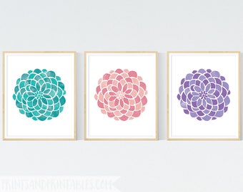 Floral Nursery Art, Flower Nursery Art, Set of Three 8x10 Art Prints, Nursery Wall Art in Lavender, Aqua and Blush Pink, Home Decor,