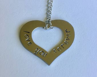Love You Forever Hand Stamped Necklace