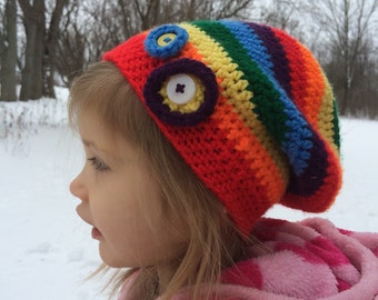 Crochet Toddler Slouchy Hat, Rainbow, 3-5 year old