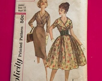 Vintage Simplicity Pattern 3068 Misses and Jr. Misses One PIece Dress with 2 Skirts 1950s 1960s Size 13 Bust 33