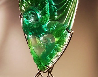 ON SALE!  Emerald Green Cast Glass Sculpture, table top, Art glass, colorful one of a kind relief casting.