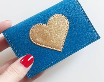 """""""Blue"""" leather adorned with a Japanese fabric lining stitched gold heart pattern wallet"""