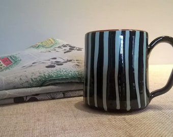 1950s Milton Head Brixham Pottery mug, black and blue striped mug, hand made Brixham pottery coffee mug tea mug.  Super!