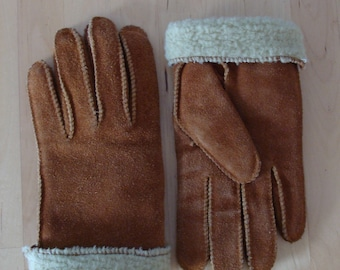 Vintage Suede Gloves Shearling 70's Boho Bohemian Warm Cozy Van Raalte Faux Shearling Classic 60's Genuine Leather Winter Gloves 1970's Cool