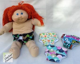 cloth doll diaper, custom, fits 6-14 inches waist
