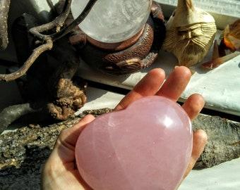XLARGE ROSE Quartz HEART-3 3/4'' .87Lbs, 396grams, Healing,4th Chakra, Self-Love, Harmonious Relationships, Meditation,Crystal Magic 64.00US