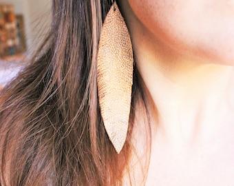 Bronze Feather Earrings, leather feather earrings