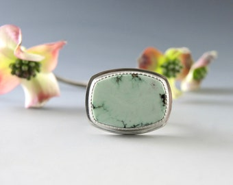 Turquoise Ring, Peacock Mine, Sterling SIlver, Elegant, Mint Green