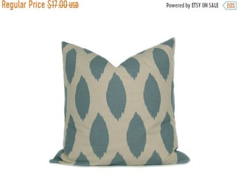 15% Off Sale Pillow Blue Pillow cover - Decorative pillows  Blue and Cream Pillow.Decorator Pillow Cover. Throw Pillow.Printed fabric both s