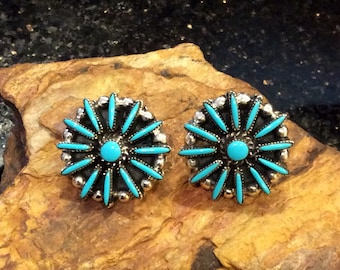 Native American Style Jewelry Sterling Silver Zuni Turquoise Cluster Needlepoint Earrings