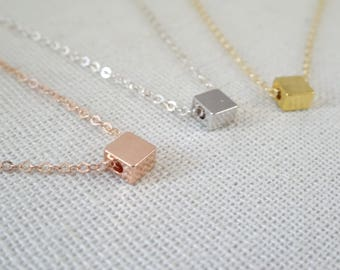 Personalized Square necklace, Hand stamped initial necklace, Cube necklace, Bridesmaid Necklace, graduation gift, Petite Wedding jewelry