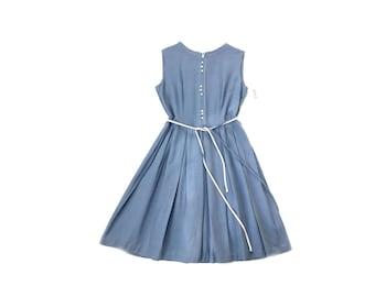 Vintage 1950s dress, 50s day dress, Deadstock dress, Blue 50s dress, Medium