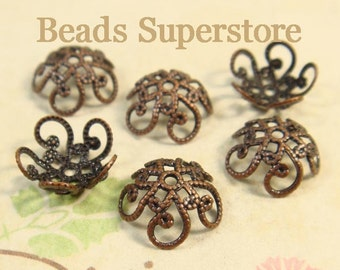 10 mm x 4.5 mm Antique Copper-Plated Brass Flower Bead Cap - Nickel Free and Lead Free - 20 pcs