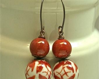 Vintage Red Jasper Bead Dangle Drop Earrings, Vintage Chinese White Cinnabar Butterfly Porcelain Beads, Handmade Copper Ear Wires