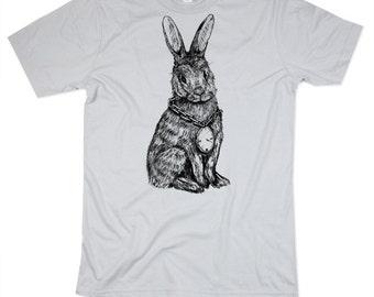 Mens Rabbit TShirt - Silver Rabbit Shirt - HIPHOP - Mens Basic Crew Neck - Small, Medium, Large, XL, 2XL