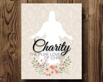Charity The Pure Love Of Christ, LDS Relief Society Printable, Relief Society Print, LDS Decor, Relief Society Bulletin Board