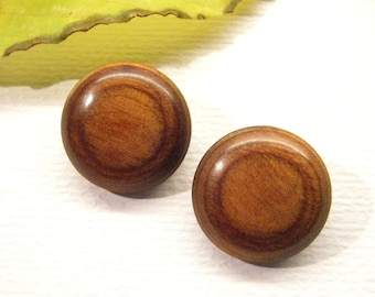"Pair of Polished Exotic WOOD Buttons, 7/8"", ANIMAL CHARITY Donation"