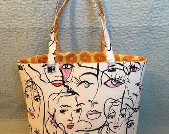 Faces Fabric Standing Tote