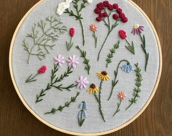 """8"""" Hand Embroidered Wildflowers"""
