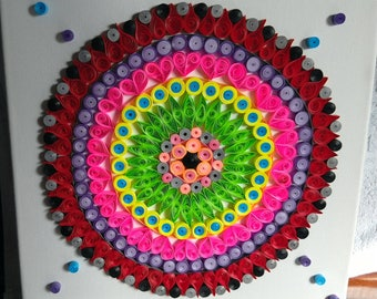 Quilling Mandala Art on Canvas - Paper quilled wall art