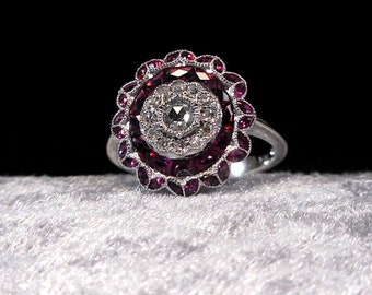 Stunning 1.38ct Art Deco Ruby Diamond Multi Gem Style White Gold Ring 14kt