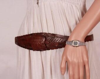 Vintage women belt, Tooled leather belt, Handmade belt, Belt turtle, Cowgirl belt, Handmade leather belt, Genuine leather belt, Gift for her