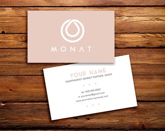 Monat Business Cards Buyer Cards || Custom Monat Hair Care Pink Solid Minimalistic Simple