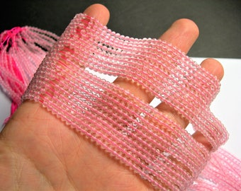 Rose quartz -  3mm round - full strand 129 beads - A Quality - PG62