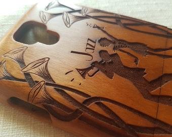 Samsung Galaxy S4 Floral Wooden Phone Case JAZZ DANCE Custom Design Natural Cherry Wood
