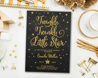 Twinkle Twinkle Little Star Baby Shower Invitation, Twinkle Twinkle shower invite, Gender Neutral, Chalkboard Printable Invitation