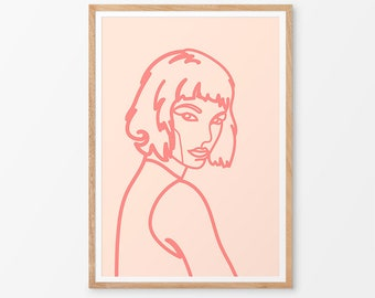 Violette Art Print / Feminine Art  / Pink / Contemporary / Girl / Pop Art / Giclee Print / Poster / Figure /