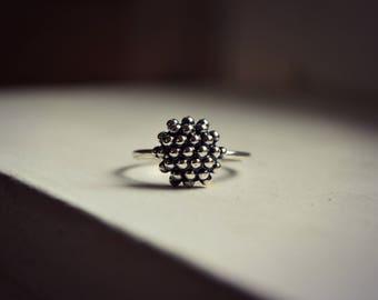 Particle Molecule Ring Minimalist Sterling Silver Organic Biology Jewelry Modern Bubble Dot Granulation Ring Raspberry
