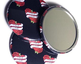 Heart Tattoo Mirror, Rockabilly Mirror, Retro Tattoo Design, Valentines Gift, Large Pocket Mirror, Stocking Filler, Tattoo Love Heart