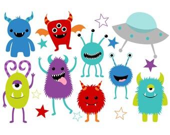 50% OFF Cute Monster Clip Art Set - Set of 25 - Monster Clip Art - Cute Monster - Monster Party - Monster Theme - Scrapbooking