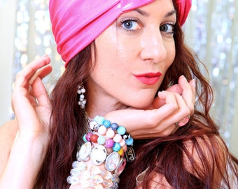 Turban Headband in Hot Pink - Women's Turban Headwrap -  Turban Hair Wrap with Bow - Wide Headbands