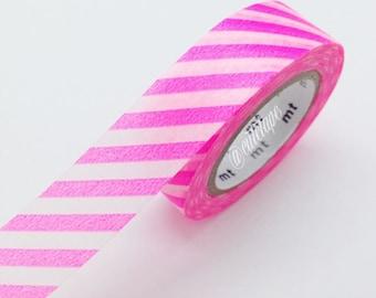 Diagonal SHOCKING PINK Stripe Washi Tape Japanese MT Pink Masking Tape - baby shower Pretty Tape
