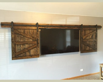 Mini Sliding Barn Door Hardware Kit Track Bend Straight Design Black Rustic with & Mini barn doors | Etsy