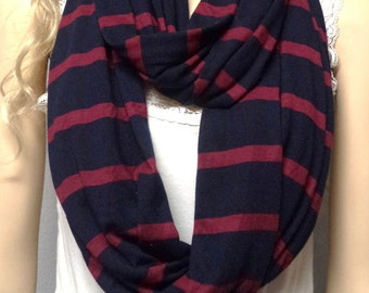 Dark Navy & Maroon Stripes  Infinity Scarf Jersey Super Soft   Knit
