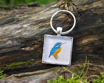 Kingfisher keyring, wildlife accessory, watercolour kingfisher, kingfisher print, wildlife gift, nature gift, bird lover keyring, animal art