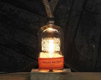 Bulleit Bourbon Bottle Lamp / Whiskey Light / Bourbon Light / Whiskey Gift for Man Cave Reclaimed Wood Base, Fathers Day Gift for Him