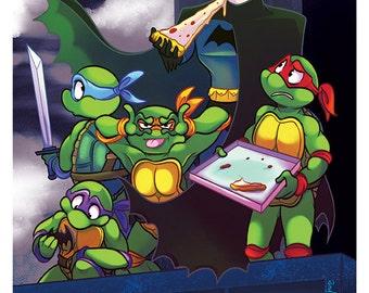 Batman & TMNT Crossover Print Poster Teenage Mutant Ninja Turtles Yorogato
