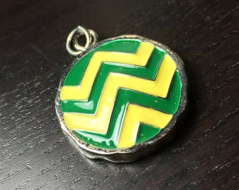 Team Colors / School Colors Round Chevron Pendant in Green and Yellow