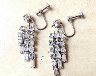 50's Vintage Rhinestone Dangle Earrings