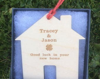 Good Luck in your new home, Personalised wall hanging.