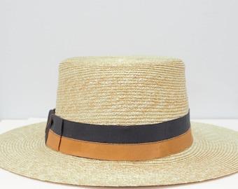 Men's Straw Boater Hat