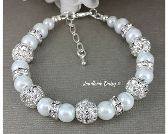 Bridesmaid Gift Pearl Bracelet Bridesmaid Jewelry Gift for Bridesmaid Rhinestones Bracelet Maid of Honor Gift Wedding