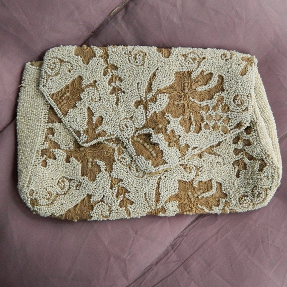 Vintage White Seed Bead and Satin Stitch Floral Clutch from Belgium