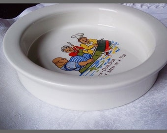 For Baby, Vintage Baby Plate: Vintage Nursery Rhyme Rub A Dub Dub, Baby's First Plate