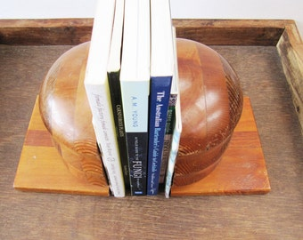 Vintage Tasmanian Wood Bookends, Blackwood Huon Pine Myrtle Wooden Bookends, Big Heavy Bookends, Chunky Natural Wood Decor